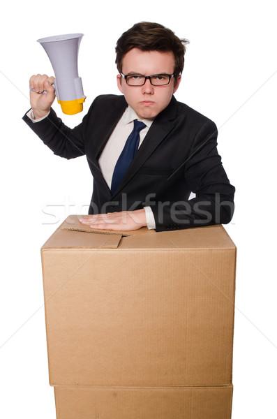 Homem alto-falante caixa negócio escritório trabalhar Foto stock © Elnur