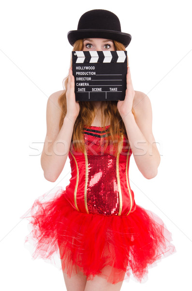 Young fairy with clapperboard isolated on white Stock photo © Elnur
