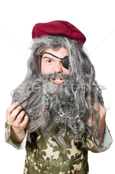 Komik asker yalıtılmış beyaz adam yeşil Stok fotoğraf © Elnur