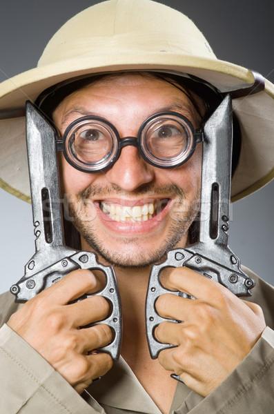 Vicces szafari vadász természet szemüveg jókedv Stock fotó © Elnur