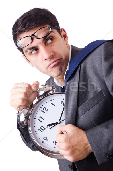 Man with clock afraid to miss deadline isolated on white Stock photo © Elnur
