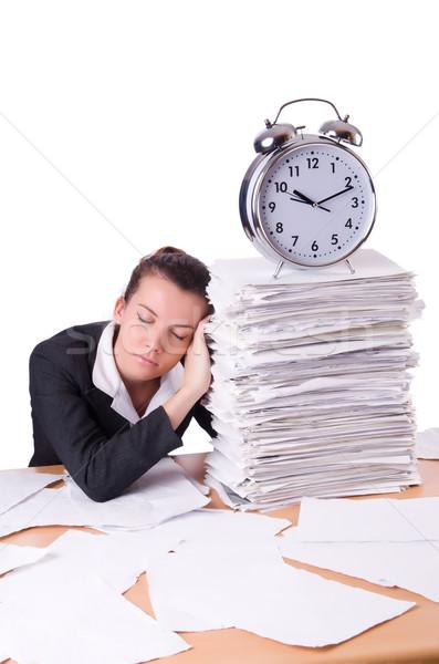 Photo stock: Femme · femme · d'affaires · stress · manquant · horloge
