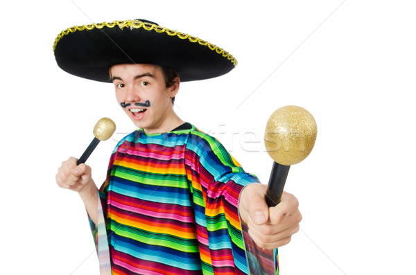 Funny young mexican sings isolated on white Stock photo © Elnur