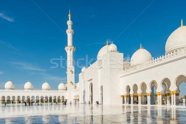 Cami Abu Dabi Bina ibadet beyaz mermer Stok fotoğraf © Elnur