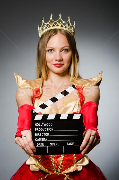 Koningin rode jurk film vrouw achtergrond kunst Stockfoto © Elnur