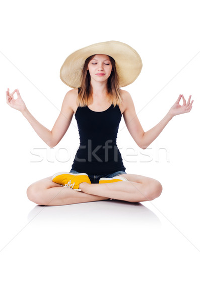 A sitting girl isolated on white Stock photo © Elnur