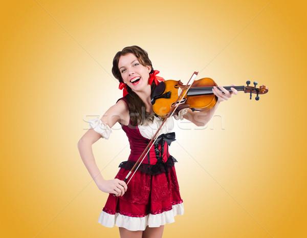 играет скрипки градиент женщину стороны Сток-фото © Elnur