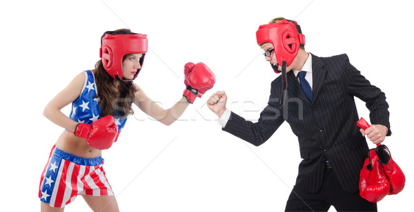 Boxer woman and businessman isolated on white Stock photo © Elnur