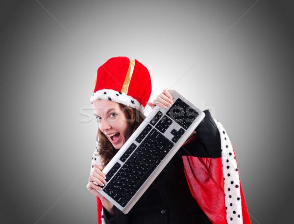 Kobieta królowej funny komputera pracy biznesmen Zdjęcia stock © Elnur