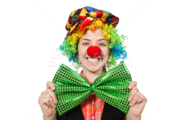 Stock photo: Female clown isolated on white