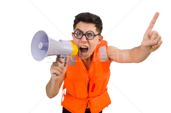 Funny man wearing vest with loudspeaker Stock photo © Elnur