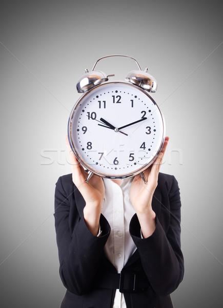 Mulher empresária gigante relógio trabalhar empresário Foto stock © Elnur