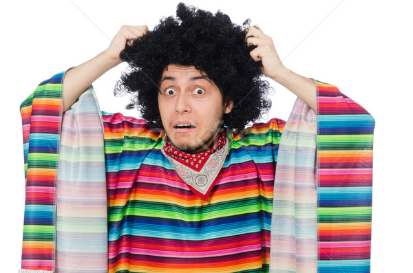 Funny mexican wearing poncho isolated on white Stock photo © Elnur