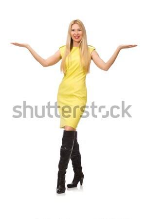 Bella fiera ragazza giallo abito isolato Foto d'archivio © Elnur