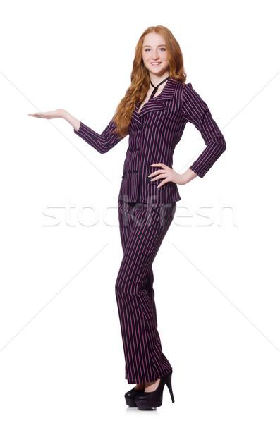 小さな 女性 縞模様の レトロな スーツ 孤立した ストックフォト © Elnur