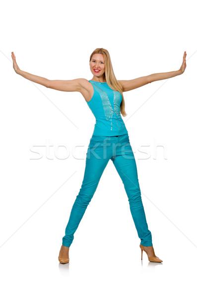 Csinos szőke nő kék nadrág póló Stock fotó © Elnur