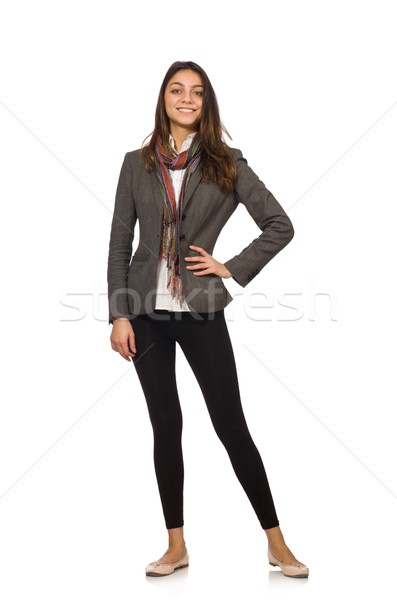 Girl in gray jacket isolated on white Stock photo © Elnur