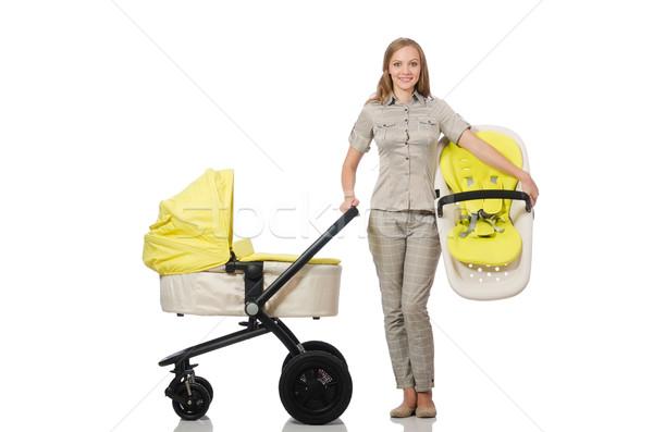 Vrouw kinderwagen geïsoleerd witte familie meisje Stockfoto © Elnur