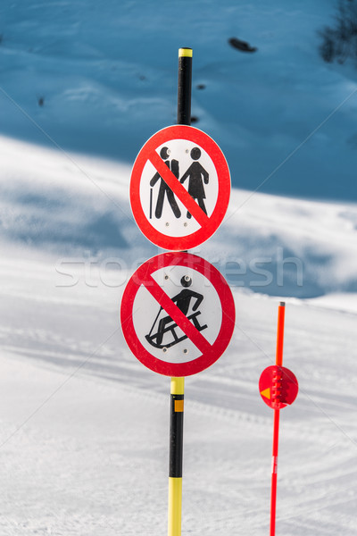 Danger sings on winter skiing resort Stock photo © Elnur