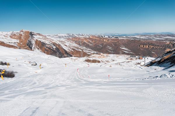 Tél hegyek régió Azerbajdzsán égbolt tájkép Stock fotó © Elnur