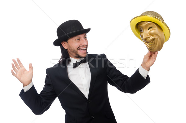 Man with theater mask isolated on white Stock photo © Elnur