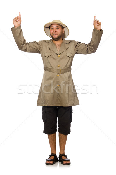 Man in safari hat isolated on white Stock photo © Elnur