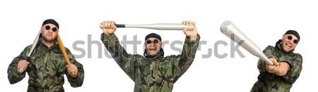 Soldaat honkbalknuppel witte achtergrond jonge macht Stockfoto © Elnur