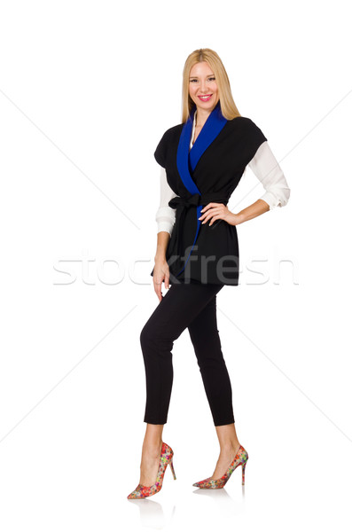 Vrouw zwarte modieus vest geïsoleerd witte Stockfoto © Elnur
