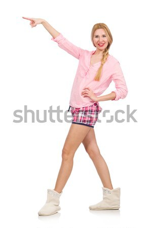 Pretty smiling girl in pink jacket isolated on white Stock photo © Elnur