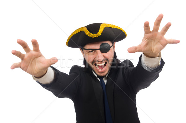Pirate businessman wearing tricorn isolated on white Stock photo © Elnur