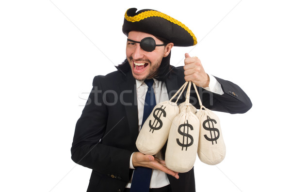 Pirate businessman holding money bags isolated on white Stock photo © Elnur