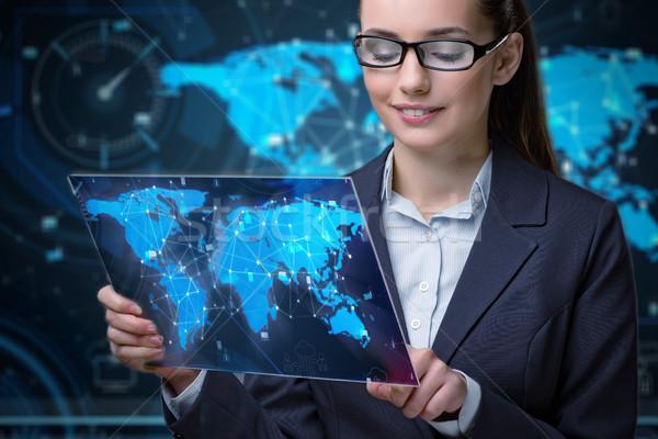 Jovem empresária global de negócios mulher dinheiro trabalhar Foto stock © Elnur