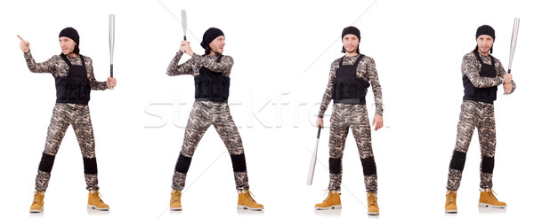 Soldier with bat isolated on the white background Stock photo © Elnur