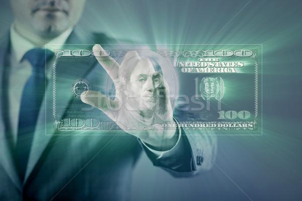 Stockfoto: Zakenman · dollar · business · hand · scherm · financieren