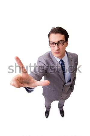 Vicces üzletember kisajtolás virtuális gombok izolált Stock fotó © Elnur