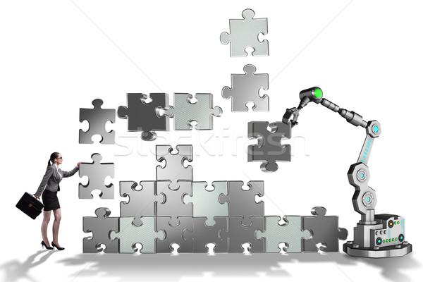 女性実業家 ジグソーパズル ロボットの 腕 ビジネス 作業 ストックフォト © Elnur