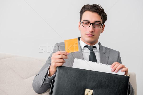 Zakenman aktetas business kantoor papier man Stockfoto © Elnur