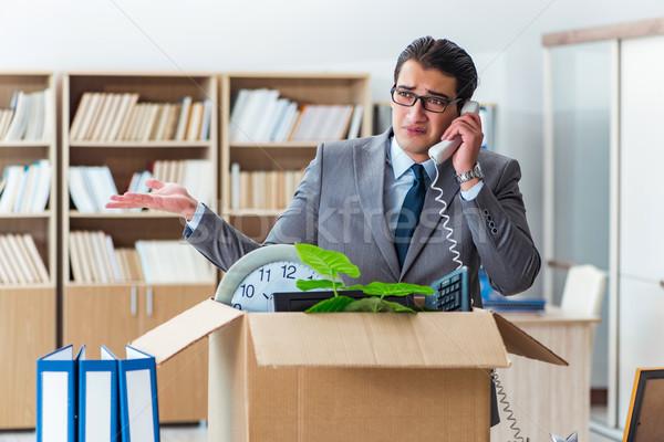 Férfi mozog iroda doboz üzlet telefon Stock fotó © Elnur