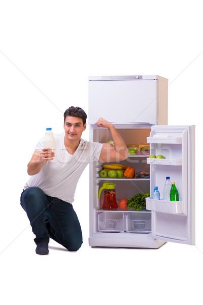 человека холодильник полный продовольствие дома счастливым Сток-фото © Elnur