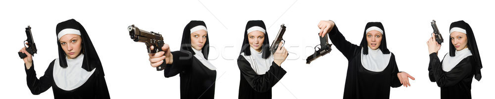 The nun with handgun isolated on white Stock photo © Elnur