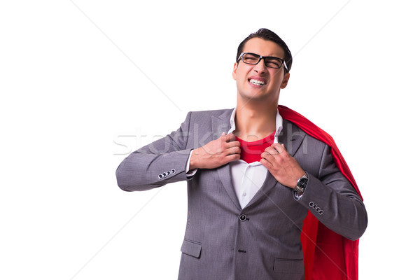 Man wearing red cover isolated on whtie background Stock photo © Elnur