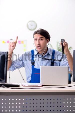 Mérges üzletasszony kiabál hangfal iroda nő Stock fotó © Elnur