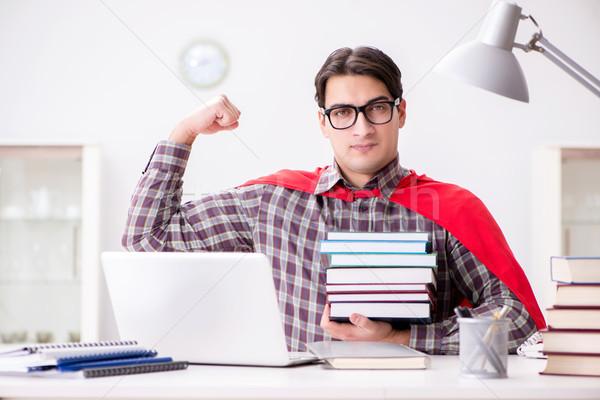 Szuperhős diák laptop tanul vizsgák számítógép Stock fotó © Elnur
