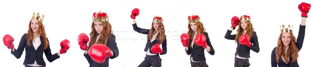 Kraliçe boksör işkadını yalıtılmış beyaz iş Stok fotoğraf © Elnur