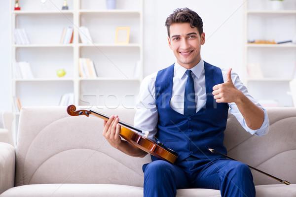 Foto stock: Jovem · músico · homem · jogar · violino