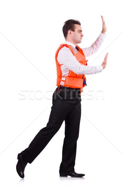 üzletember mentés mentőmellény fehér iroda boldog Stock fotó © Elnur