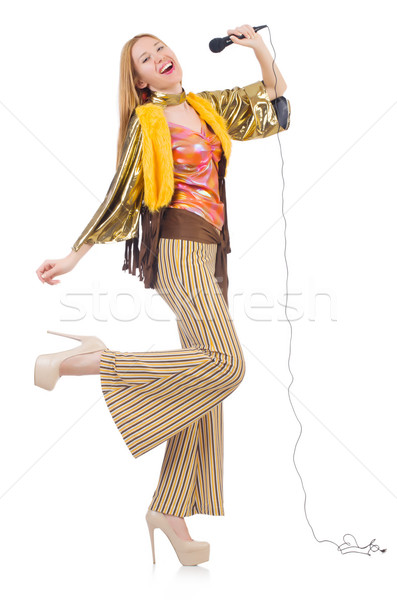 Woman in spanish clothing with mic Stock photo © Elnur
