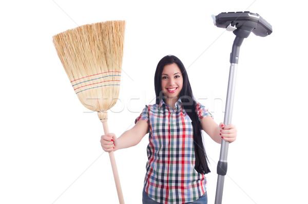 Jonge huisvrouw huishouding witte huis gelukkig Stockfoto © Elnur