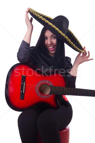 Guitarrista isolado branco música festa fundo Foto stock © Elnur