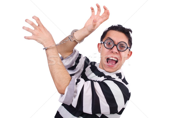 Funny convict isolated on the white Stock photo © Elnur